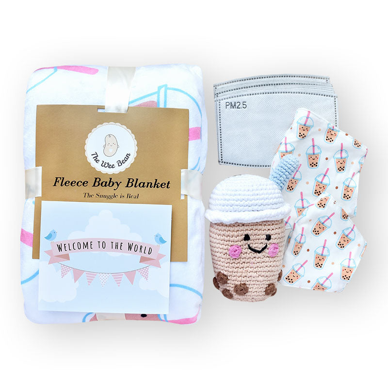 the wee bean kids toddler gift set with mommy and me matching masks and minky boba blanket with boba rattle doll
