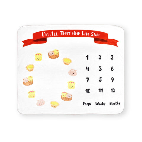 the wee bean taste of hk collection dim sum fleece milestone blanket flatlay