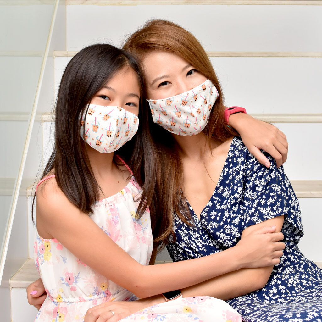 the wee bean organic cotton reusable fabric kids teens womens adults mask in boba bubble tea pearl milk tea