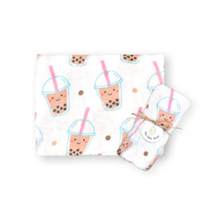 Organic Bamboo Blend Swaddle - Boba Bubble Tea