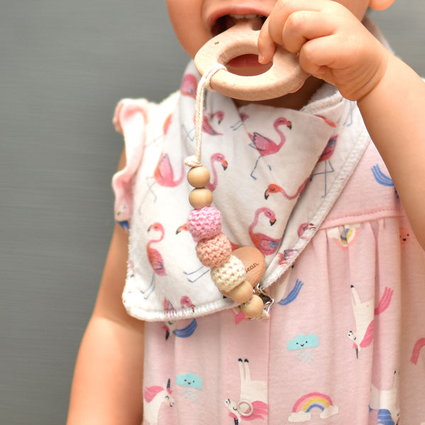 the wee bean organic teethers natural beech wood teething teether pacifier toy clip pink crochet beads flamingo bib cute baby