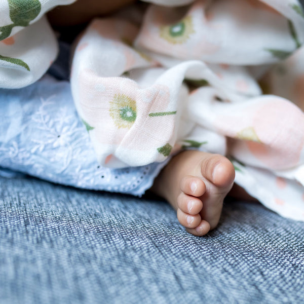 Pink Roses Cute FLowers Bamboo Organic Cotton GOTS certified Muslin Swaddles Muslin Cloths - The Wee Bean