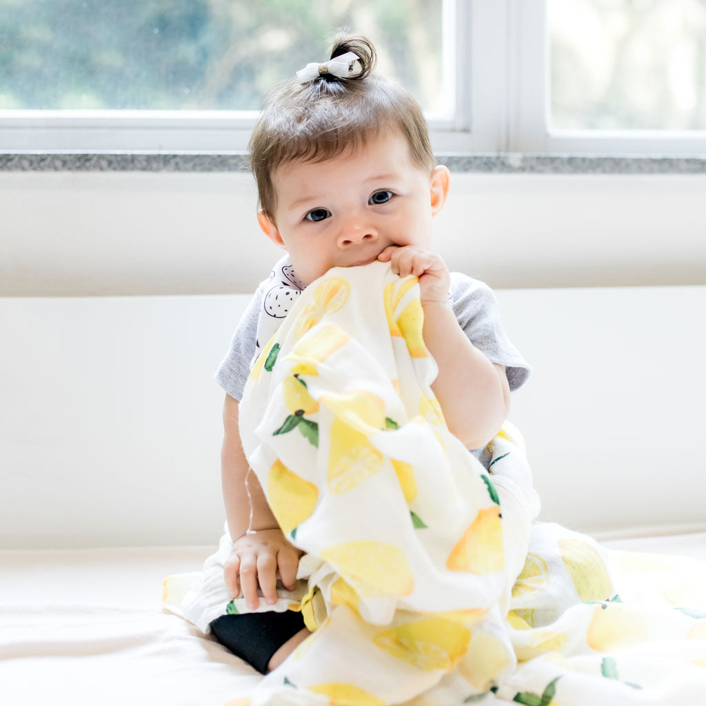 super soft bamboo organic cotton GOTS muslin swaddle yellow lemon baby blanket the wee bean