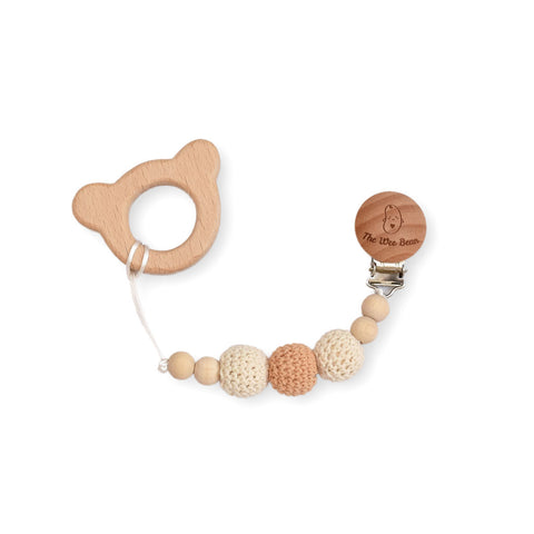 bear natural wood teether with brown pacifier clip with crochet beads untreated beech wood organic the wee bean