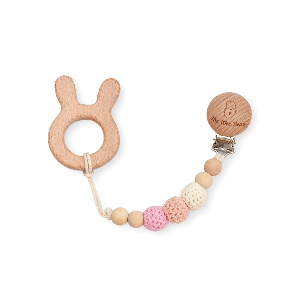 natural wood teether bunny rabbit pink crochet beads pacifier toy clip organic untreated beech wood teething remedy achy gums baby teether