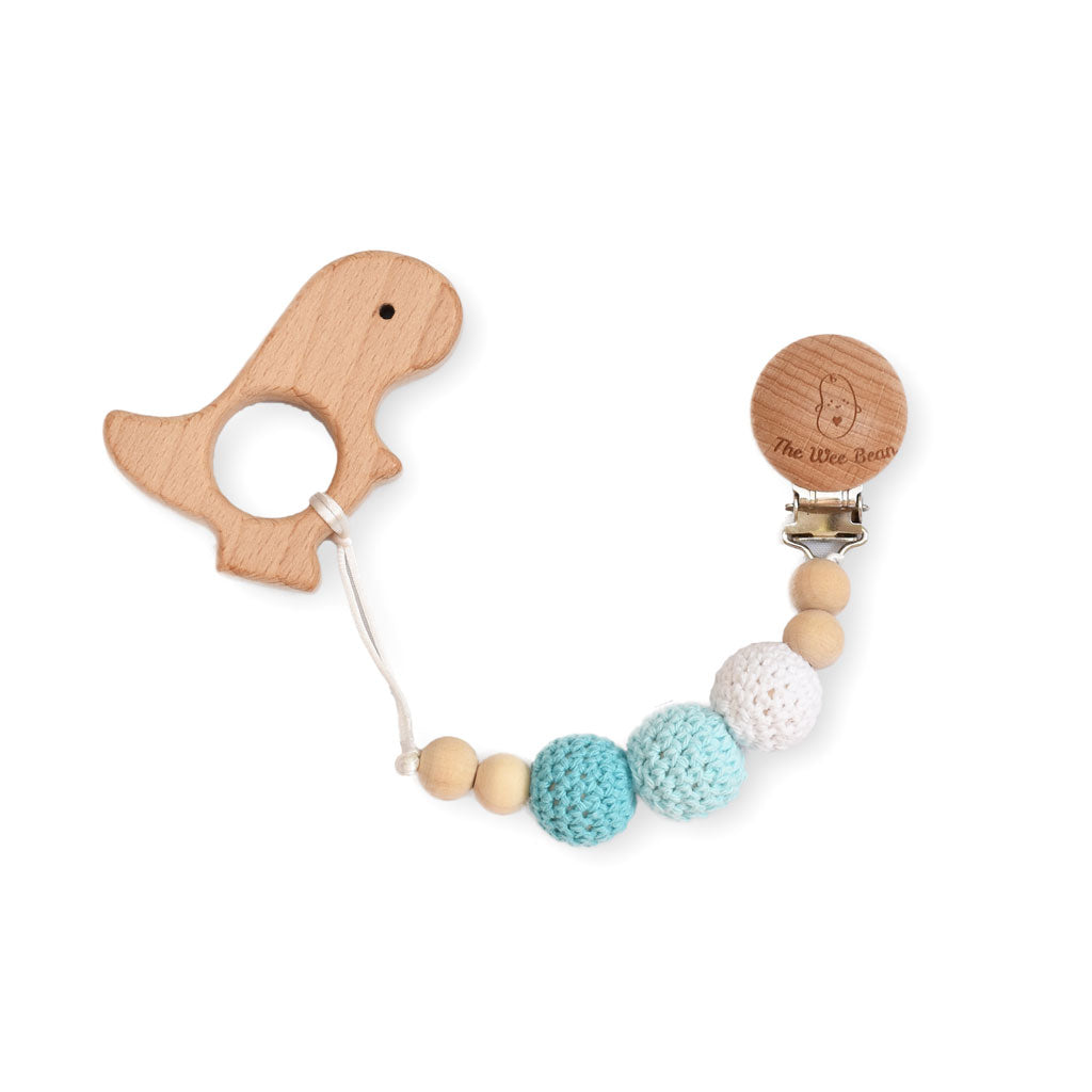 wooden dino teether and pacifier clip baby blue crochet beads natural untreated wood
