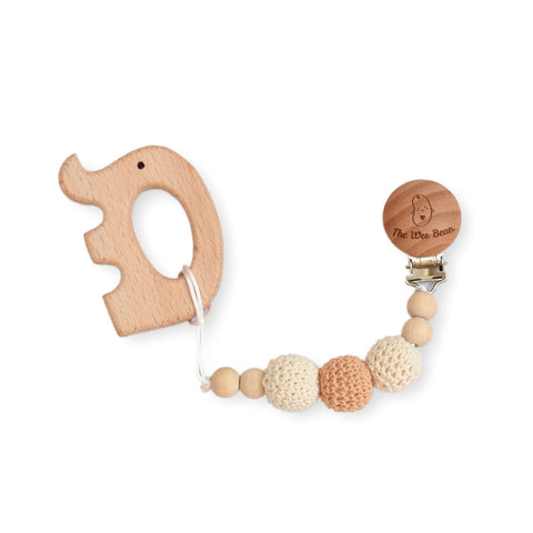 elephant natural wood teether with brown pacifier clip untreated beech wood organic the wee bean