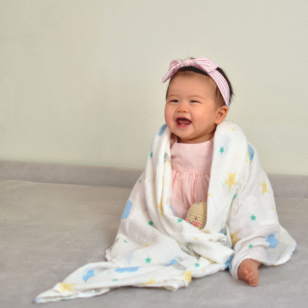 Bamboo & Organic Cotton Muslin Swaddle - Sweet Dreams