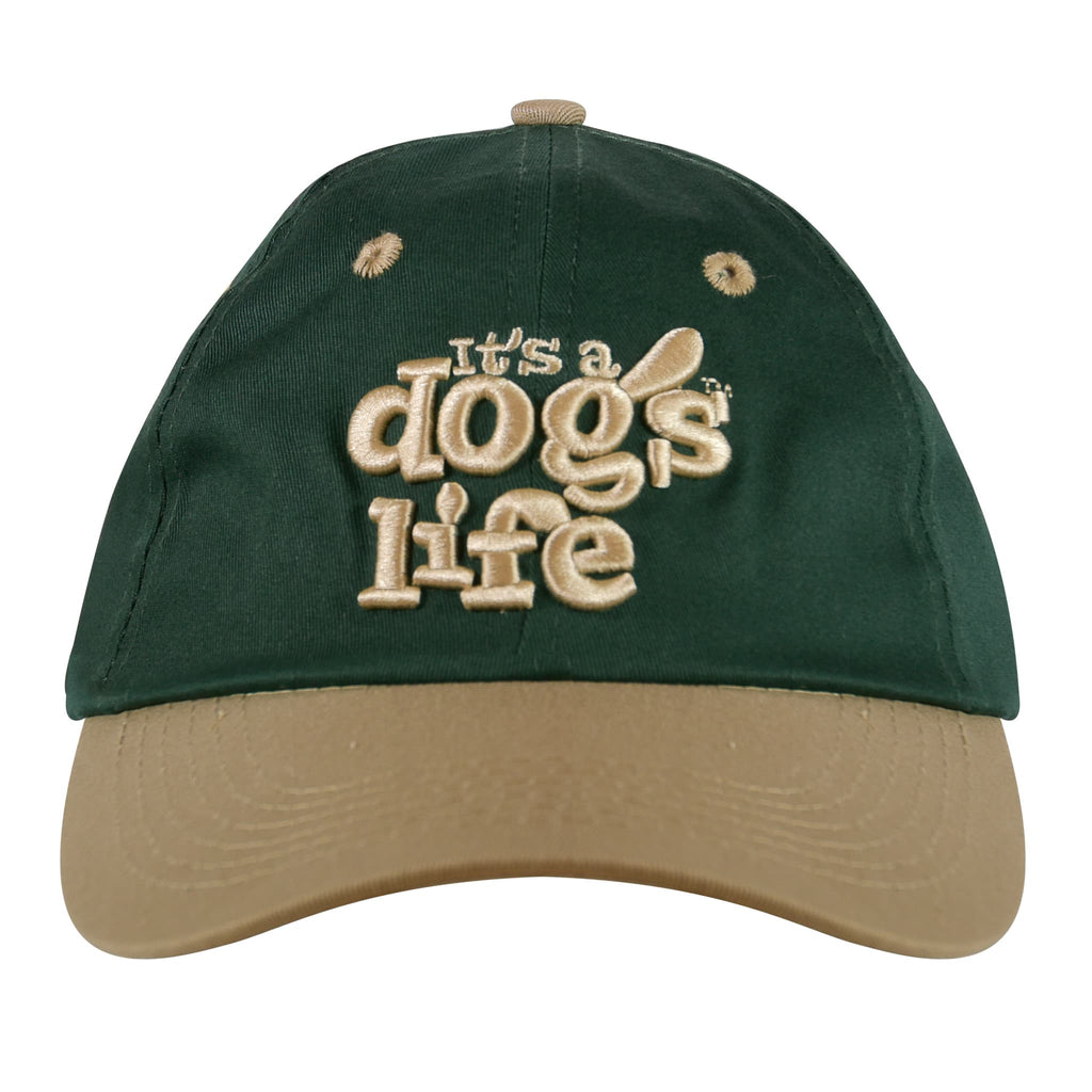It's A Dog's Life Embroidered Baseball Cap - Green/Beige - Its A Dogs Life | Clothing & Gifts