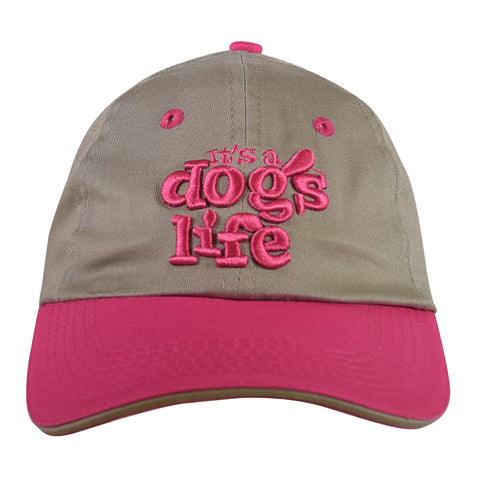 It's A Dog's Life Embroidered Baseball Cap - Grey/Pink - Its A Dogs Life | Clothing & Gifts
