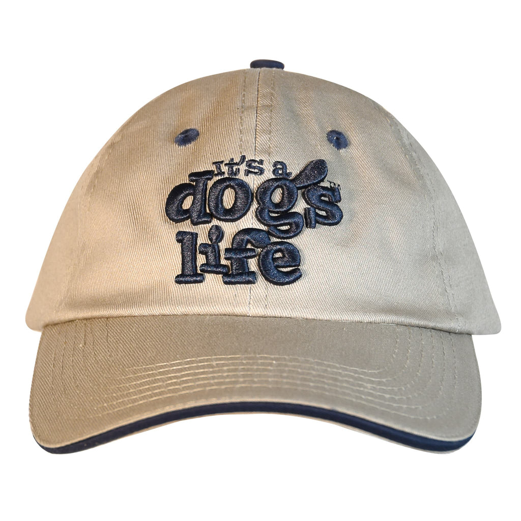 It's A Dog's Life Embroidered Baseball Cap - Light Grey - Its A Dogs Life | Clothing & Gifts