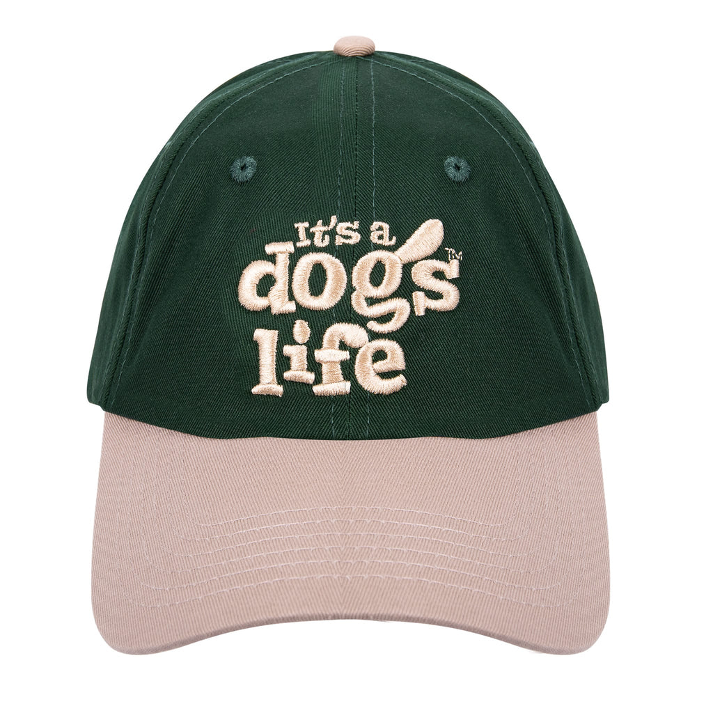 It's A Dog's Life Embroidered Baseball Cap - Green/Cream - Its A Dogs Life | Clothing & Gifts