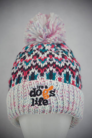 Blizzard  Beanie Fair Isle style with Pom