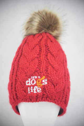 Cable Knit  Beanie with Faux Fur Pom