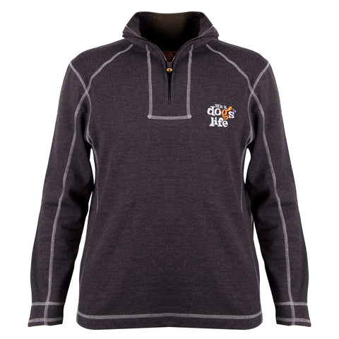 It's A Dog's Life Charcole 1/3 Zip Sweatshirt - Its A Dogs Life | Clothing & Gifts
