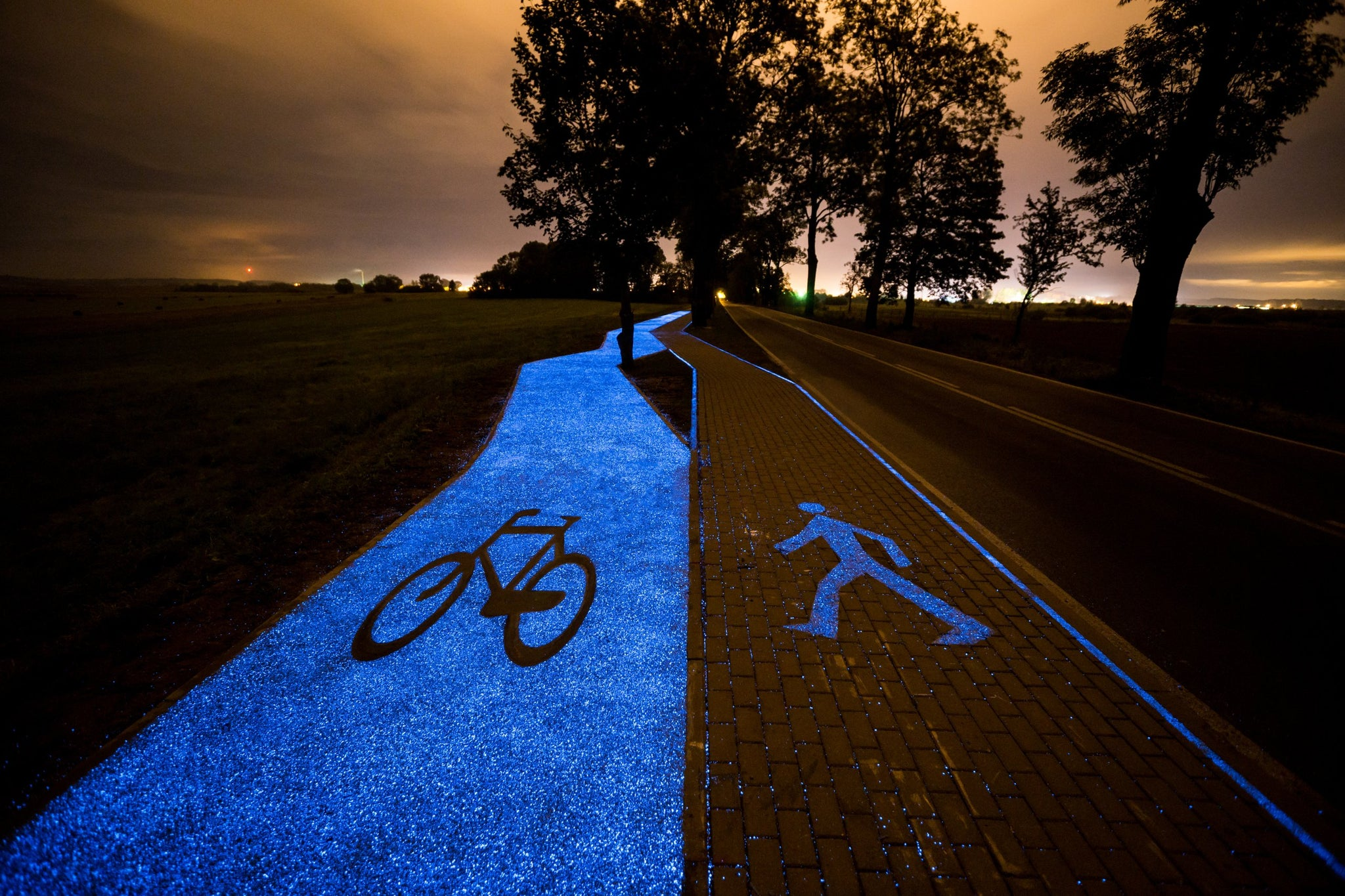 Poland Unveils Glow-In-The-Dark Bicycle Path but free of energy
