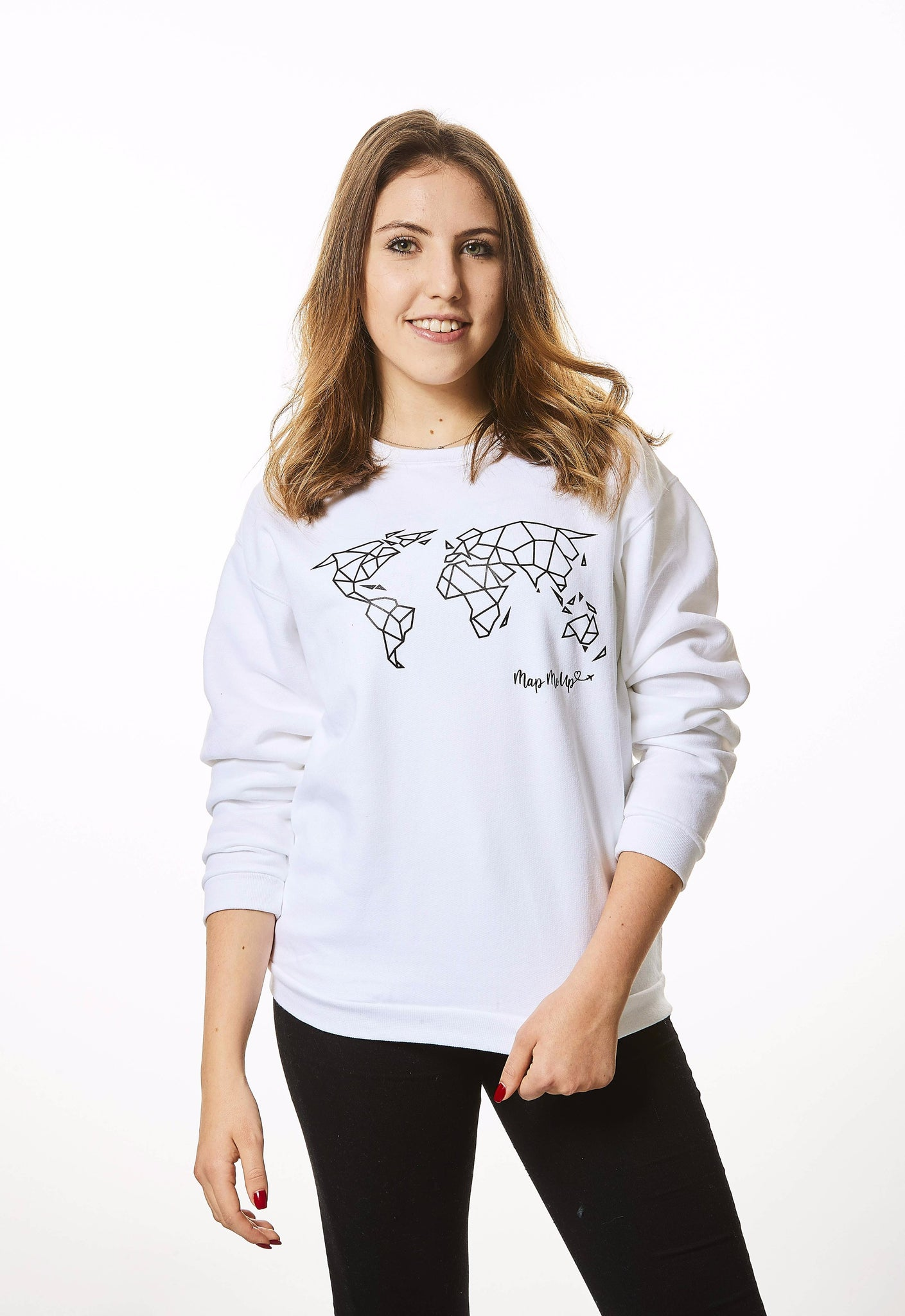 Geometric World Map Sweater White and Black