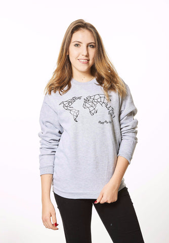Geometric World Map Sweater Grey and Black