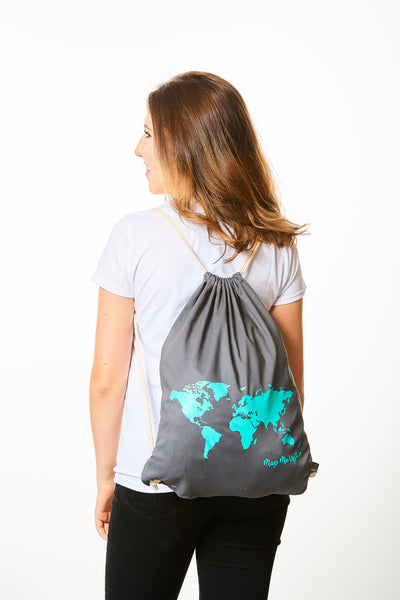 World Map Bag Grey and Turquoise