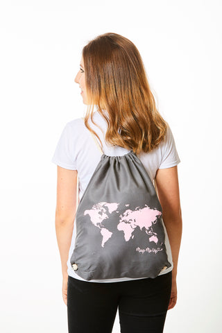World Map Bag Grey and Pink