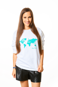World Map Sweater White and Turquoise