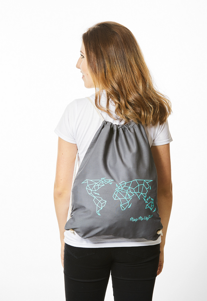Geometric World Map Bag Grey and Turquoise
