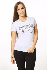 Geometric World Map T-shirt White and Black