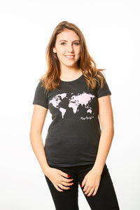 World Map T-shirt Black and Pink