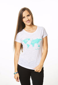 World Map T-shirt White and Turquoise