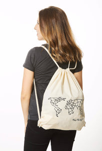 Geometric World Map Bag Natural Beige and Black