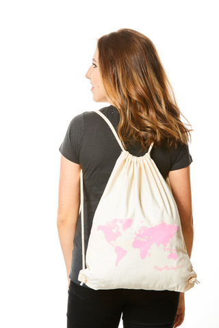 World Map Bag Natural Beige and Pink