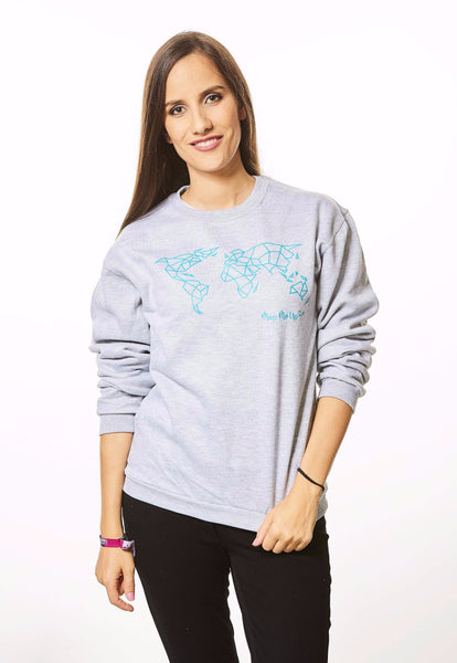 Geometric World Map Sweater Grey and Turquoise