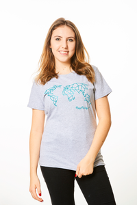 Geometric World Map T-shirt Grey and Turquoise