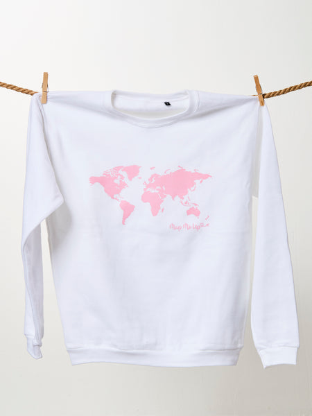 World Map Sweater White and Pink