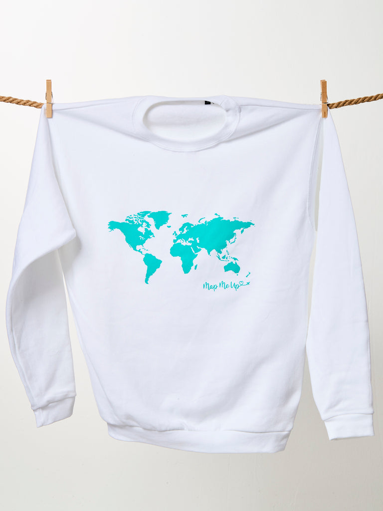 World Map Sweater.World Map Sweater White And Turquoise Map Me Up