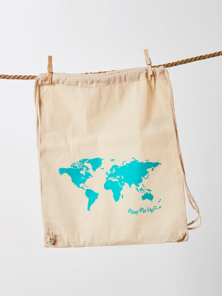 World Map Bag Natural Beige and Turquoise