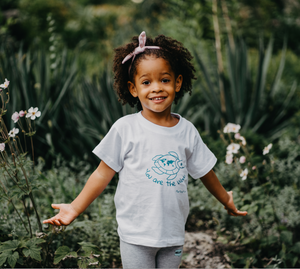 Kids Turtle T-shirt White and Turquoise