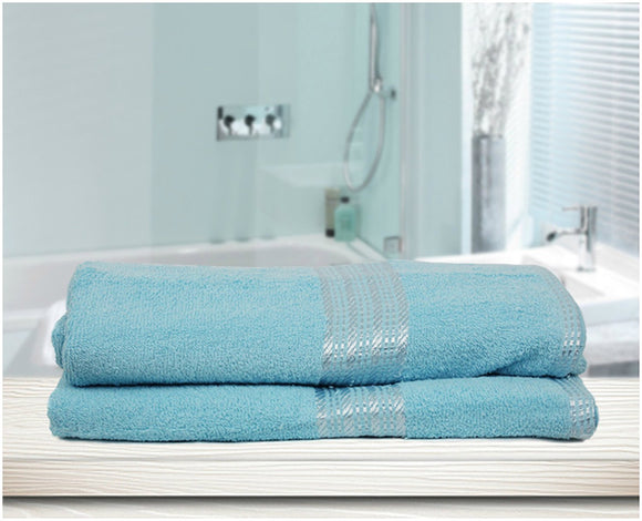 Aqua Blue 100% Soft Natural Cotton Large Bath Towel Pack of 2