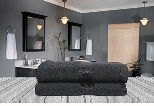 Black 100% Soft Natural Cotton Large Bath Towel Pack of 2