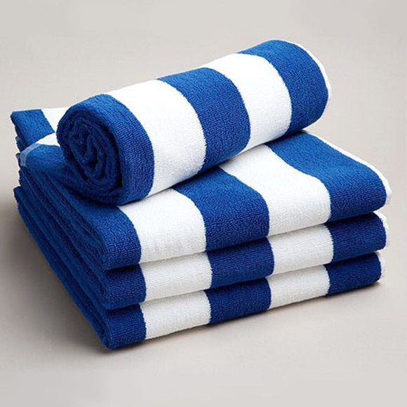 Wholesale 100% Cotton Light weight Gym Yoga Beach Towel (Blue and White Stripes) - Pack of 50, 100, 150 and 200