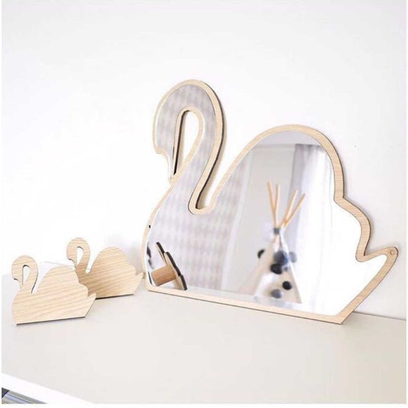 Wall Mirror Sticker Decal (with Wood Frame)