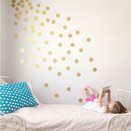 Gold Polka Dots Wall Stickers Vinyl Decal