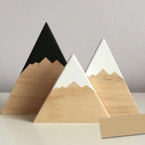 Little Wooden Mountain Decor (Set of 3)