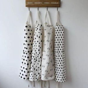 Zakka Geometric Kitchen Apron - Whites