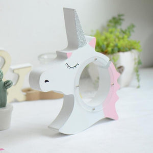 Cute Unicorn Wooden Coin Bank