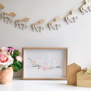 Wooden Unicorn / Swan / Cloud Garland Banner Wall Hanging Decor