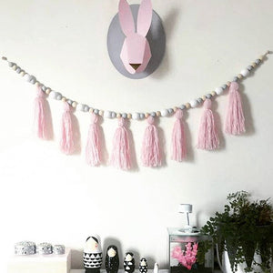 Hanging Wooden Pearl Beads Garland with Tassels