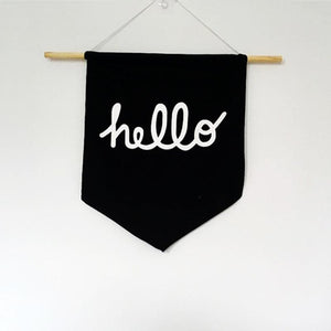 Simple Black Hello Pennant Banner