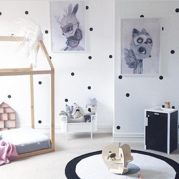 Black Polka Dots Wall Stickers Vinyl Decal