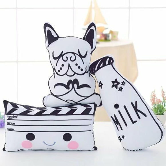 Cute Black and White Plush Cushion Pillow